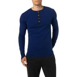 Schiesser Revival Herren Langarm-Shirt, Baumwolle, royalblau gestreift Schiesser