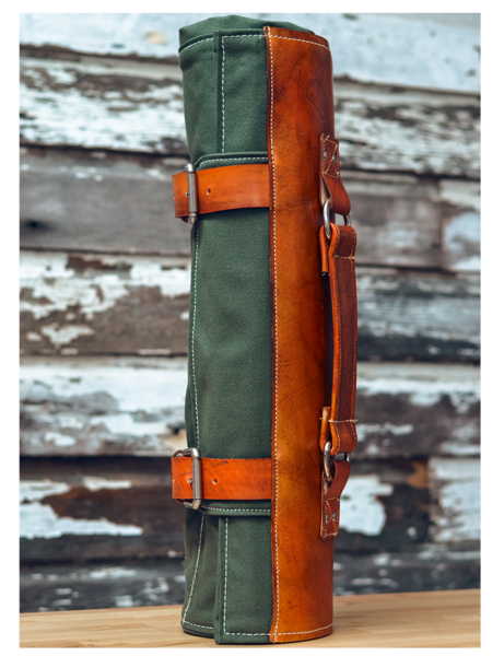 ARMY GREEN CANVAS   LEATHER KNIFE ROLL  926bbdb15291