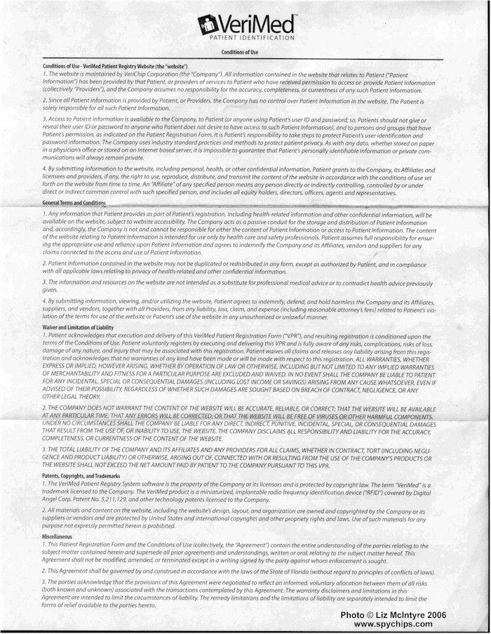 VeriChip Patient Registration Form - fine print on back things - patient registration form