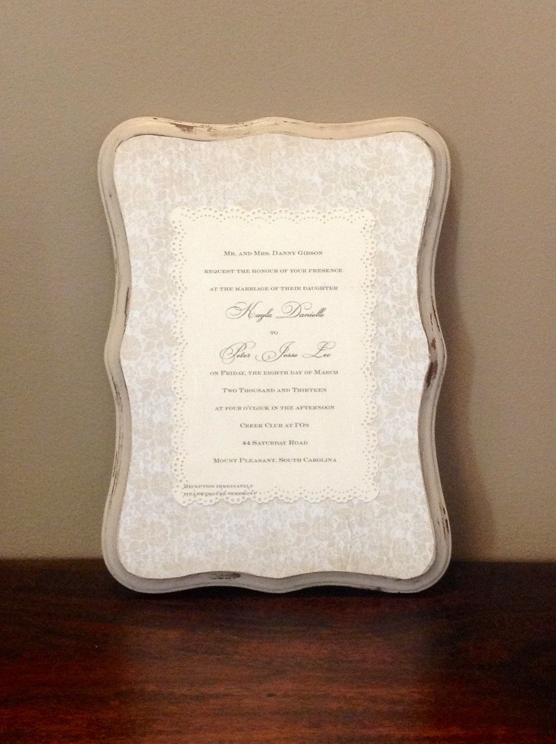 Keepsake Preserved Wedding Invitation Plaque Wedding Invitation