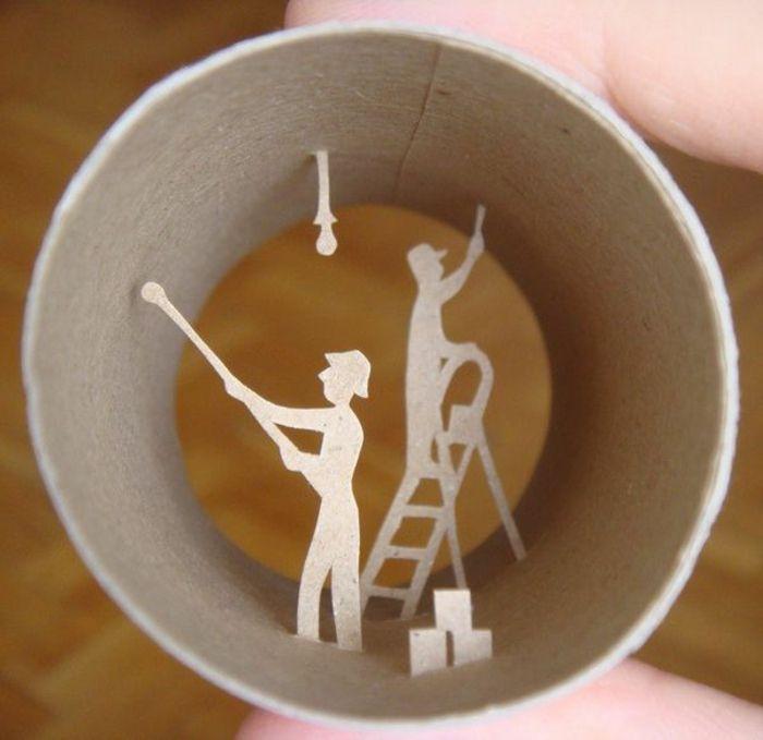 recycler le rouleau de papier toilette art avec des. Black Bedroom Furniture Sets. Home Design Ideas