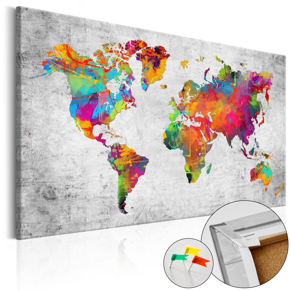 colours of modernity cork map weltkarten world maps pinterest weltkarte pinnwand. Black Bedroom Furniture Sets. Home Design Ideas