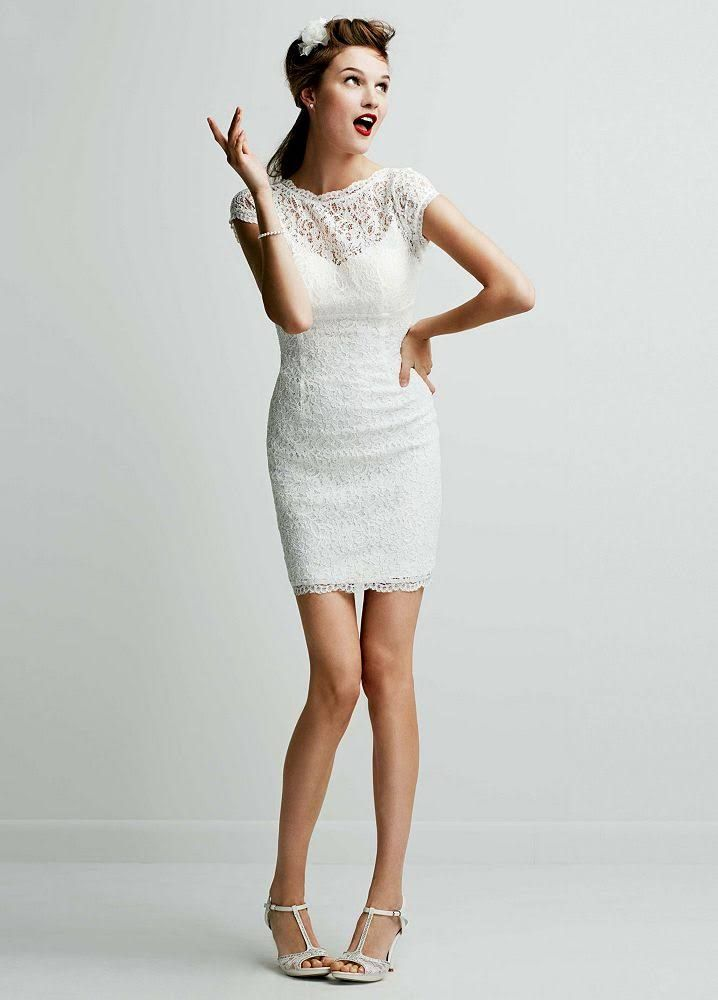 Short Lace Cap Sleeve Wedding Dress with Exposed Zipper