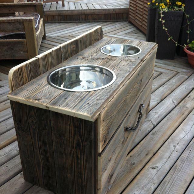 Raised Dog Feeder With Drawer Barn Board Got Wood