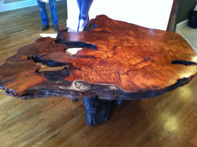 Live edge table, crafted from a salvaged old growth redwood root that have  been milled into this unique burl wood slab with great burl pattern and  movement. - Rustic WOOD SLABS Wood Slab With Great Burl Pattern And