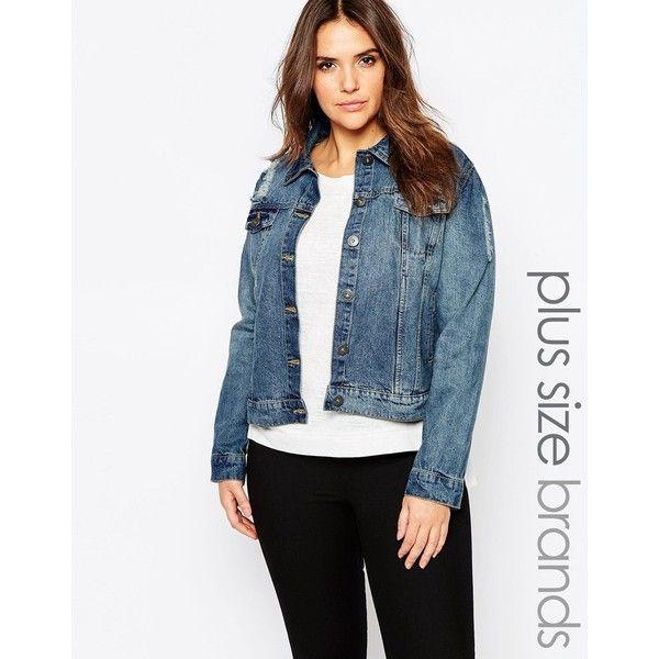 Brave Soul Plus Denim Jacket (325 SEK) ❤ liked on Polyvore featuring outerwear, jackets, blue, jean jacket, blue denim jacket, blue jean jacket, blue jackets and denim jacket