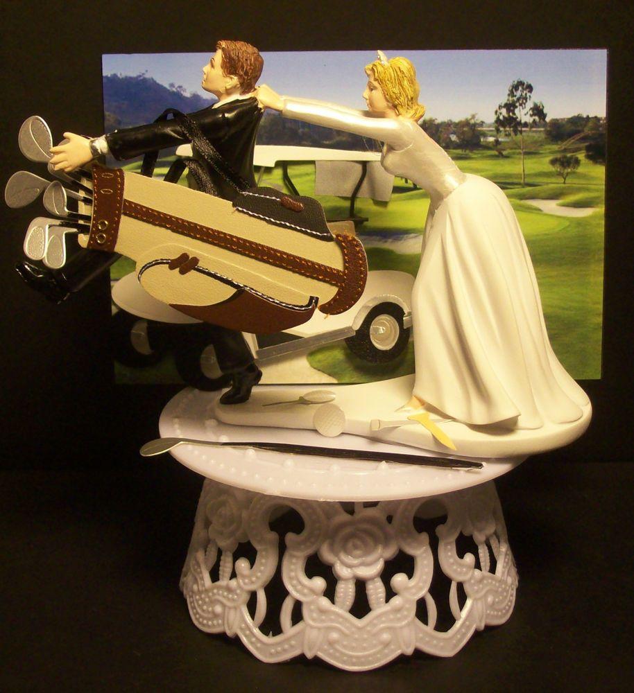 COME BACK GOLF BRIDE AND GROOM WEDDING CAKE TOPPER FUNNY ! GOLFER ...