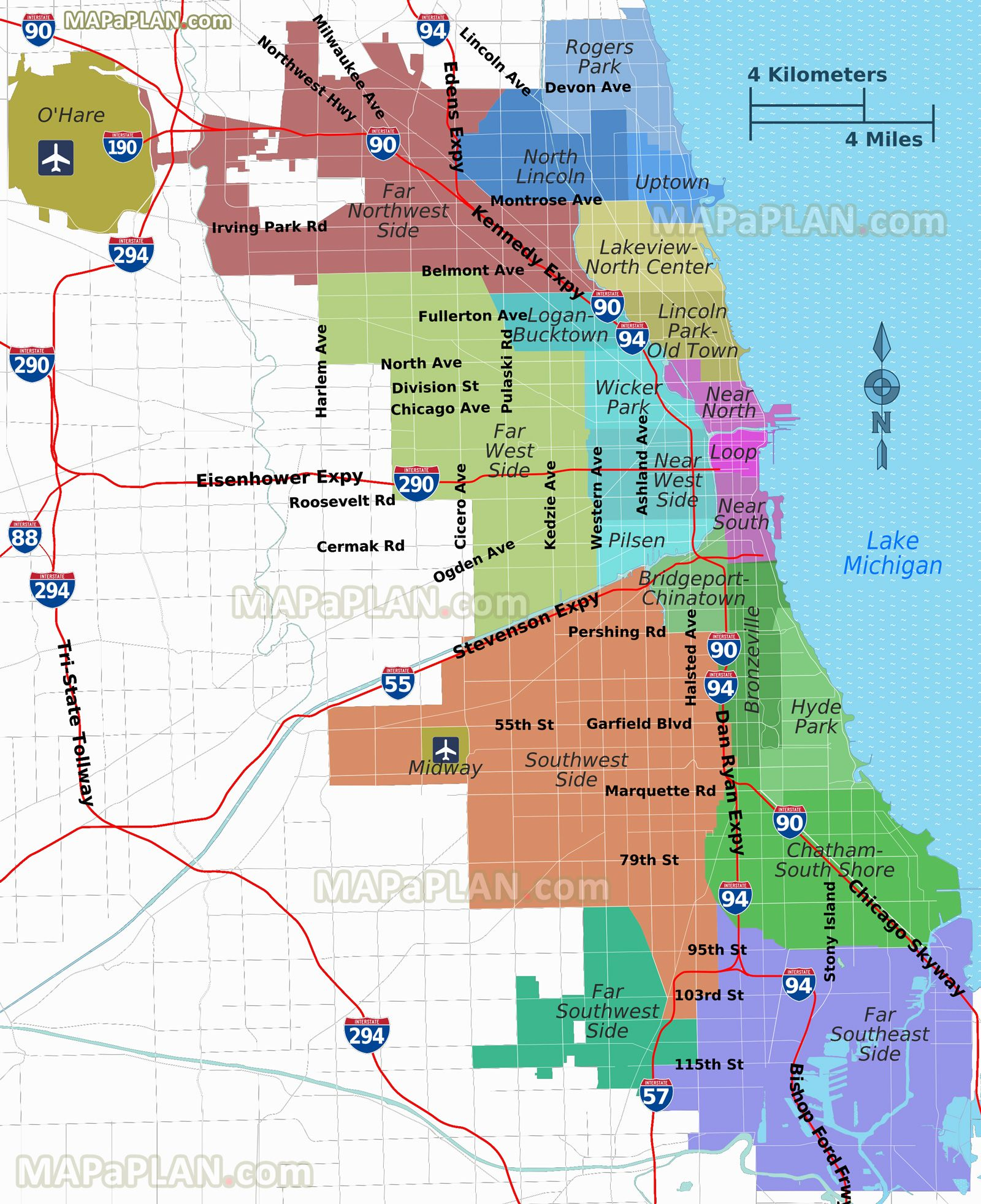 districts neighborhoods regions suburbs zones areas lake ...