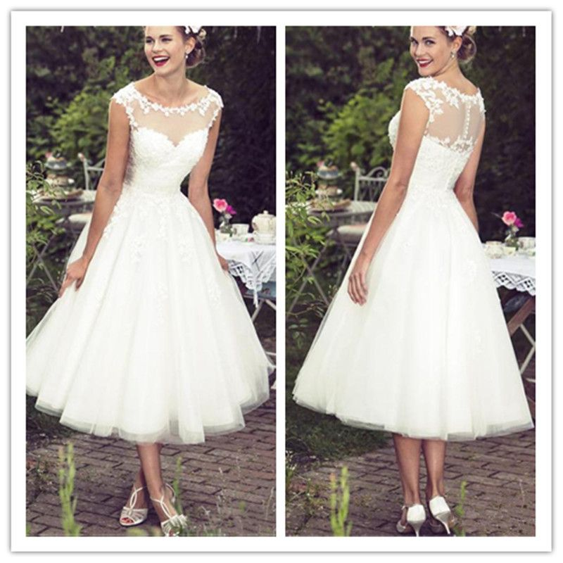 Vintage Wedding Dresses Glasgow: Lace Tea Length Beach Wedding Dresses 2019 Vintage Sheer