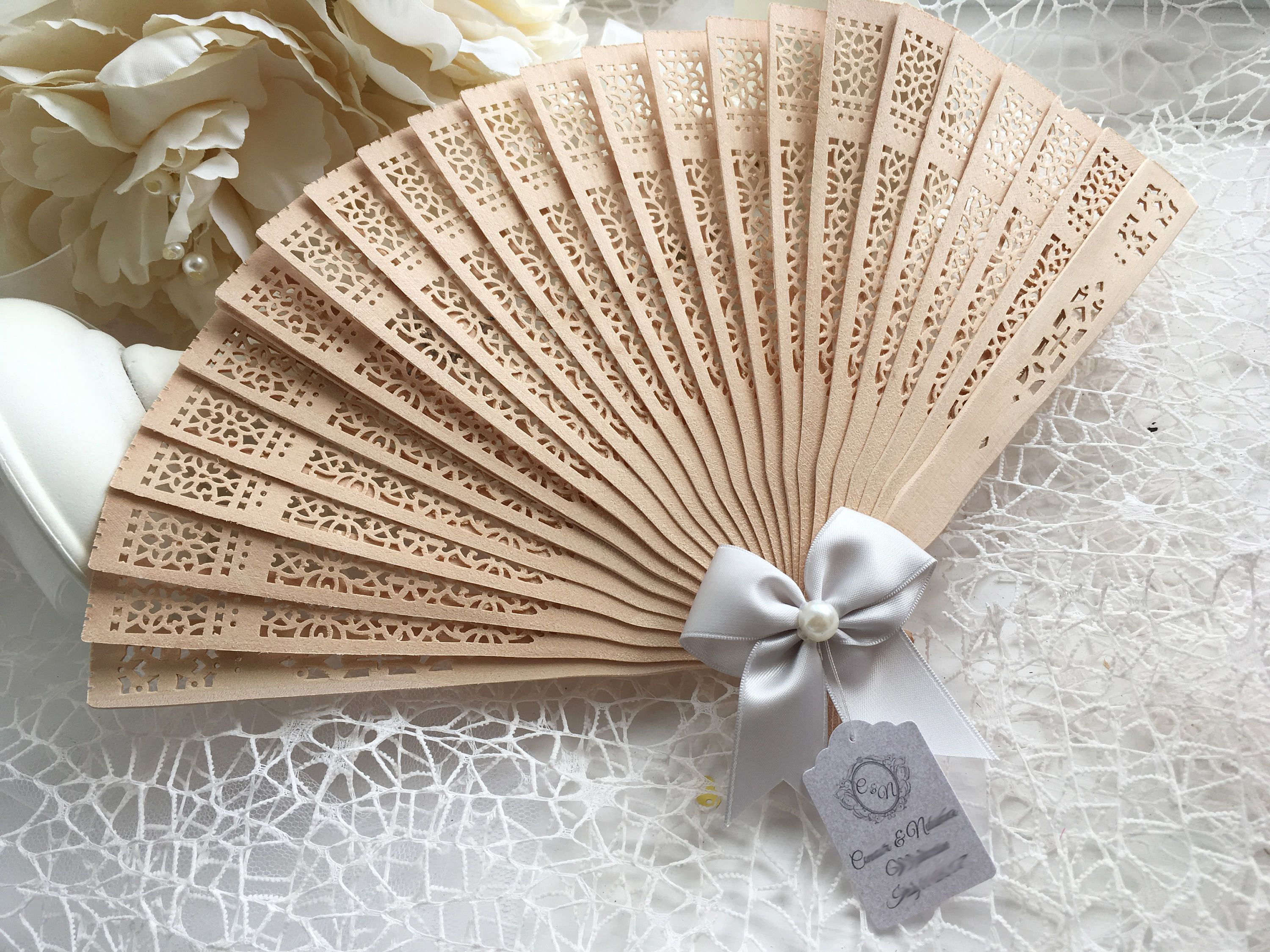 10 Summer Wedding Hand Fans Guest gift with personalised