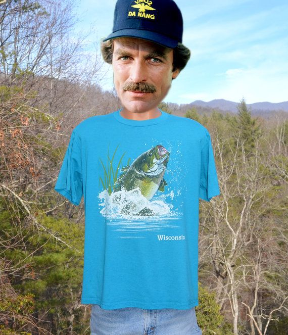 vintage 80s t-shirt FISHING wisconsin fish bass by skippyhaha
