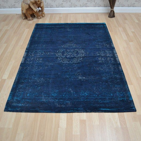 Louis De Poortere Fading World Rugs 8254 Blue Night Free Uk Delivery Rugs Flat Weave Rug Fashion Room