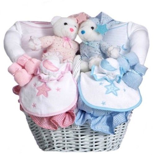 boy and girl twins  baby shower gift basket for twin babies  boy, Baby shower invitation