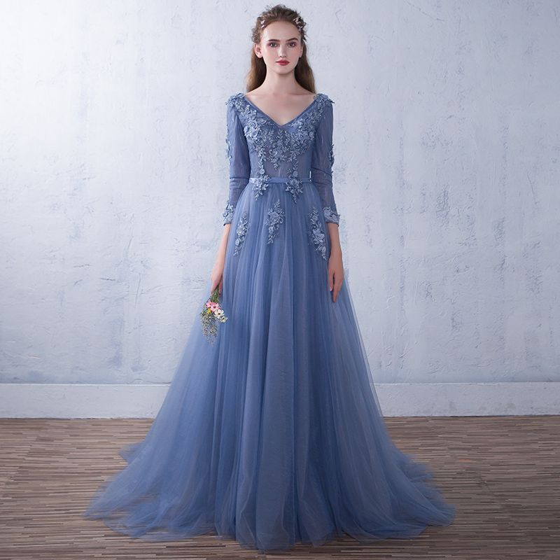 V Neck Full Sleeves Ball Gown Floor Length Long Evening Dresses Luxury  Appliques Plus Size 2017