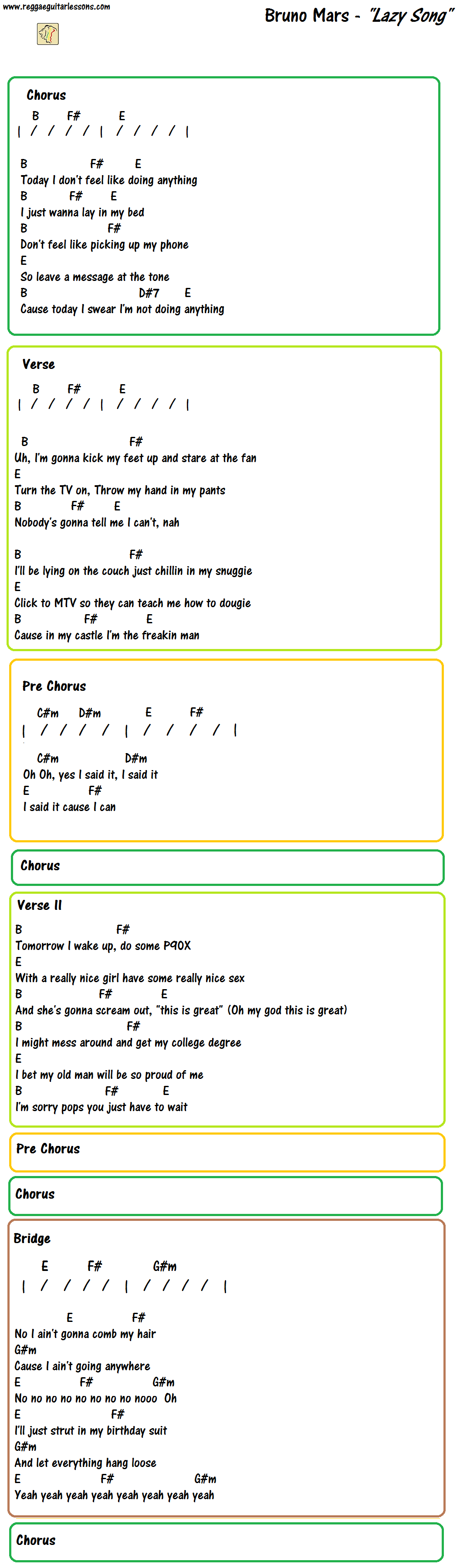 The Lazy Song Bruno Mars Chords Lyrics Guitar Chord Charts