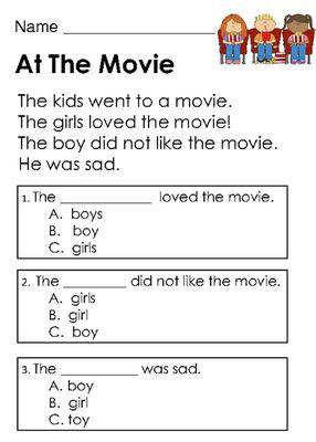 Kindergarten reading comprehension passages with multiple choice kindergarten reading comprehension passages with multiple choice questions ibookread PDF