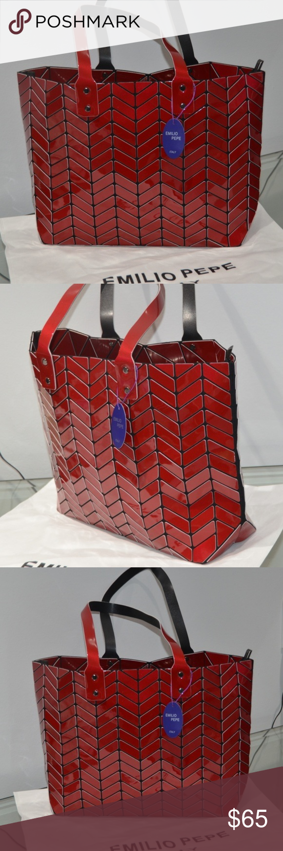 af83ee1e792 Carry Bag · Emilio Pepe Italy SHINY RED Tote NEW WITH TAG Emilio Pepe Italy  SHINY RED TOTE NEW