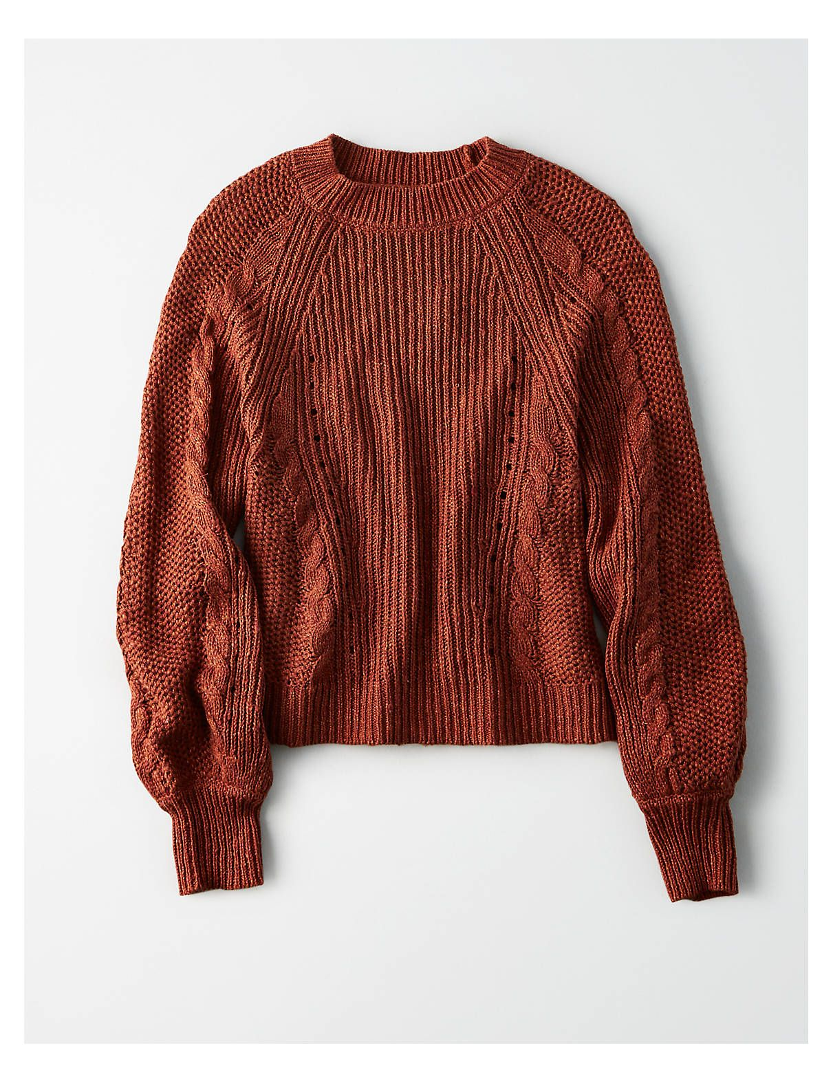 f63b06fe64b AE Chunky Cable Knit Crew Neck Sweater, Rust | American Eagle ...