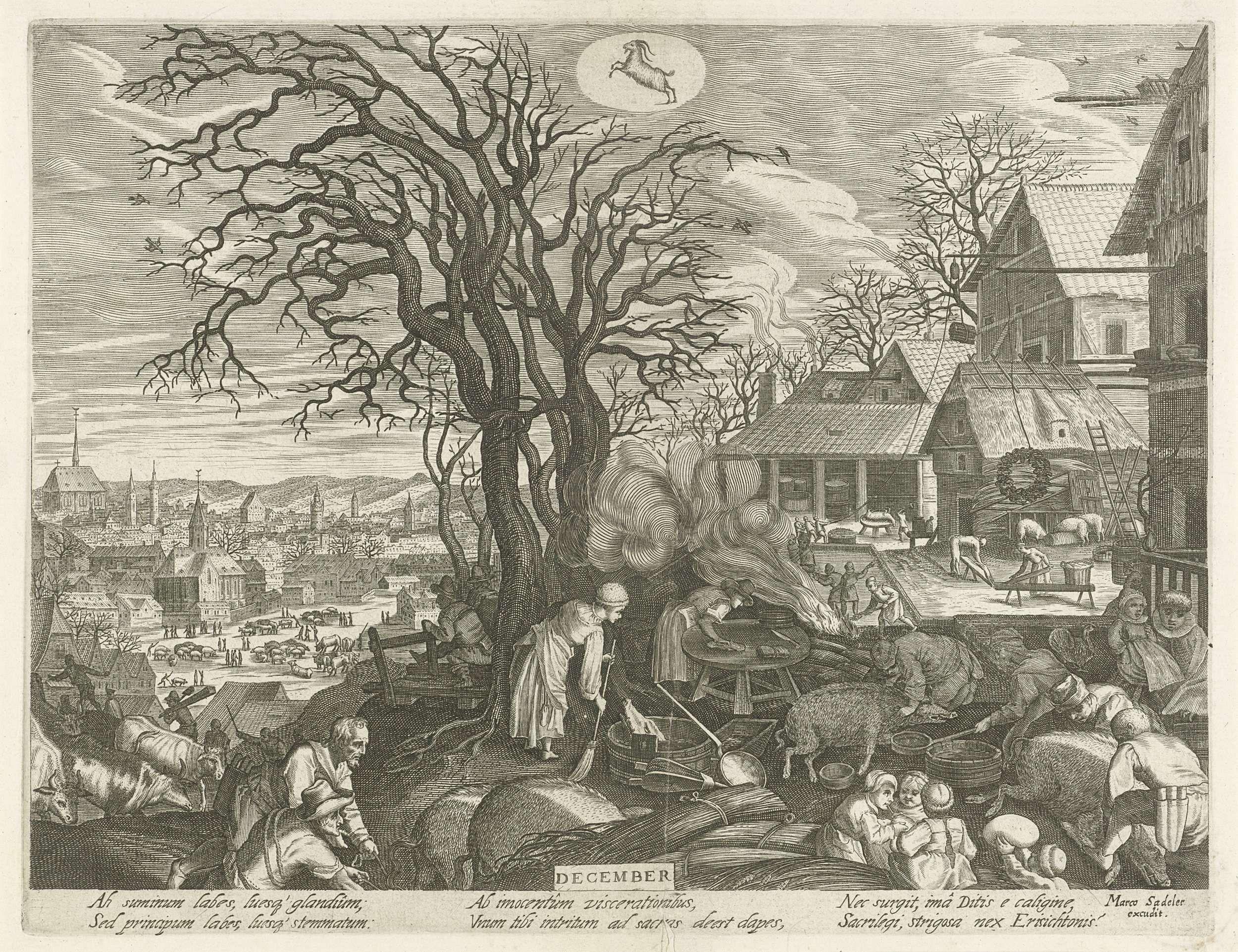 Aegidius Sadeler   December, Aegidius Sadeler, Pieter Stevens (I), Pieter Stevens (II), 1607   December is de slachtmaand. Centraal staat het slachten van vee en het pekelen van vlees. Middenboven het sterrenbeeld Steenbok. De prent heeft een Latijns onderschrift.