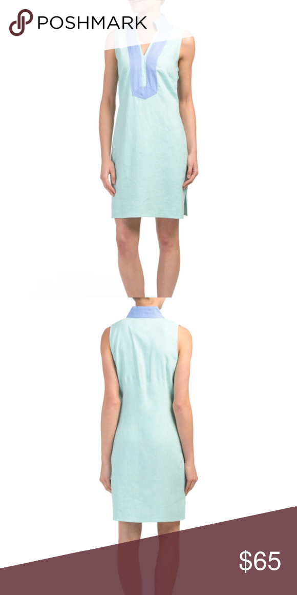 75ad43248be0 SAIL TO SABLE Linen Classic Tunic Sleeveless Dress stand collar, seamed,  contrast trim, side slits sleeveless, v-neck, tunic dress pull on linen  color: mint ...