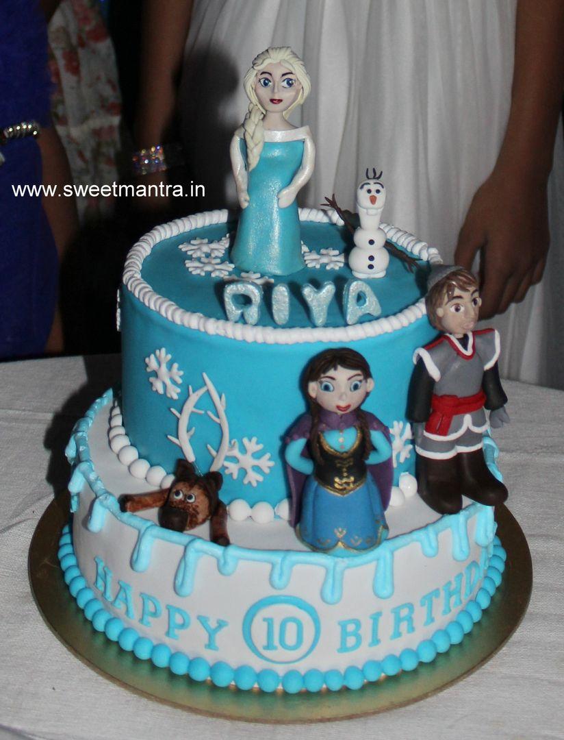 Homemade Eggless 3dcustom 2 Tier Frozen Theme 10th Birthday Cake