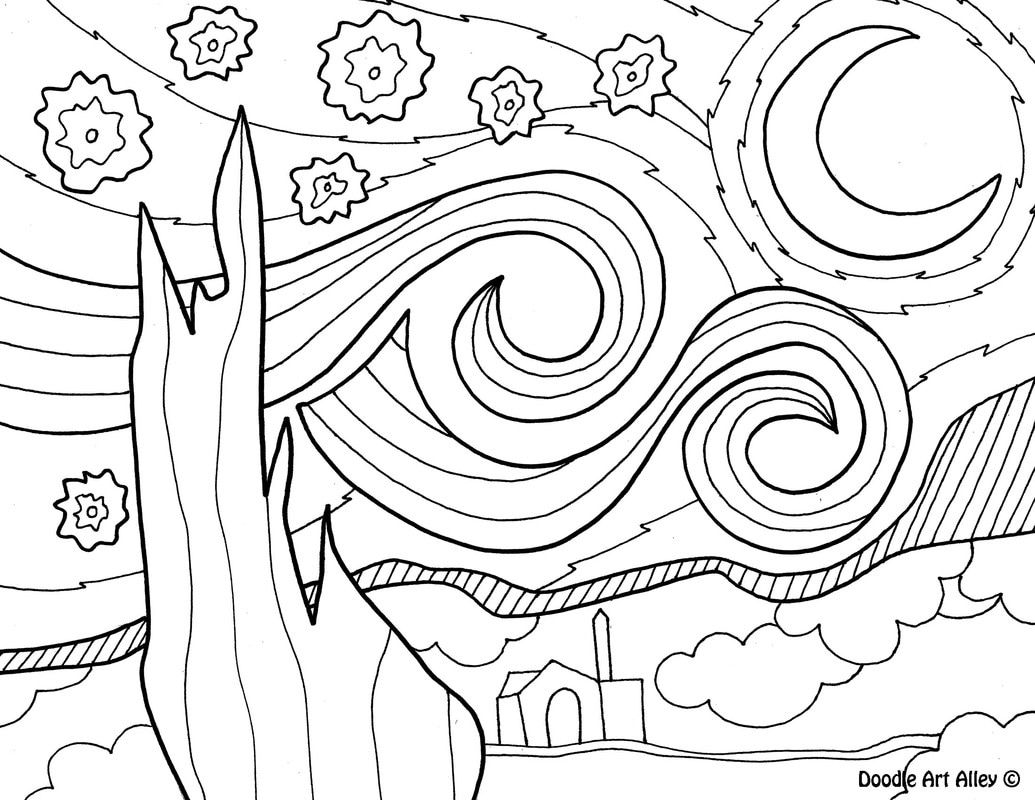 van Gogh - Starry Night | Adult Colouring Pages | Pinterest | Dibujar