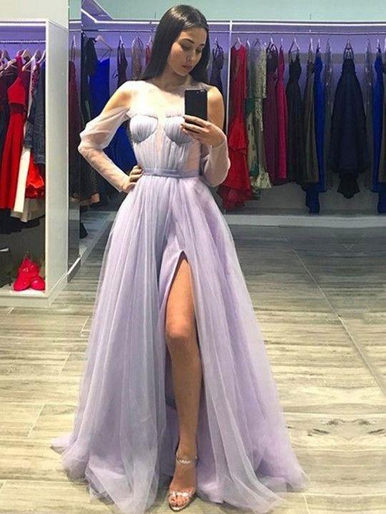Fairy Prom Dresses Scoop A Line Ruffles Flowy Long Tulle Prom Dress ...
