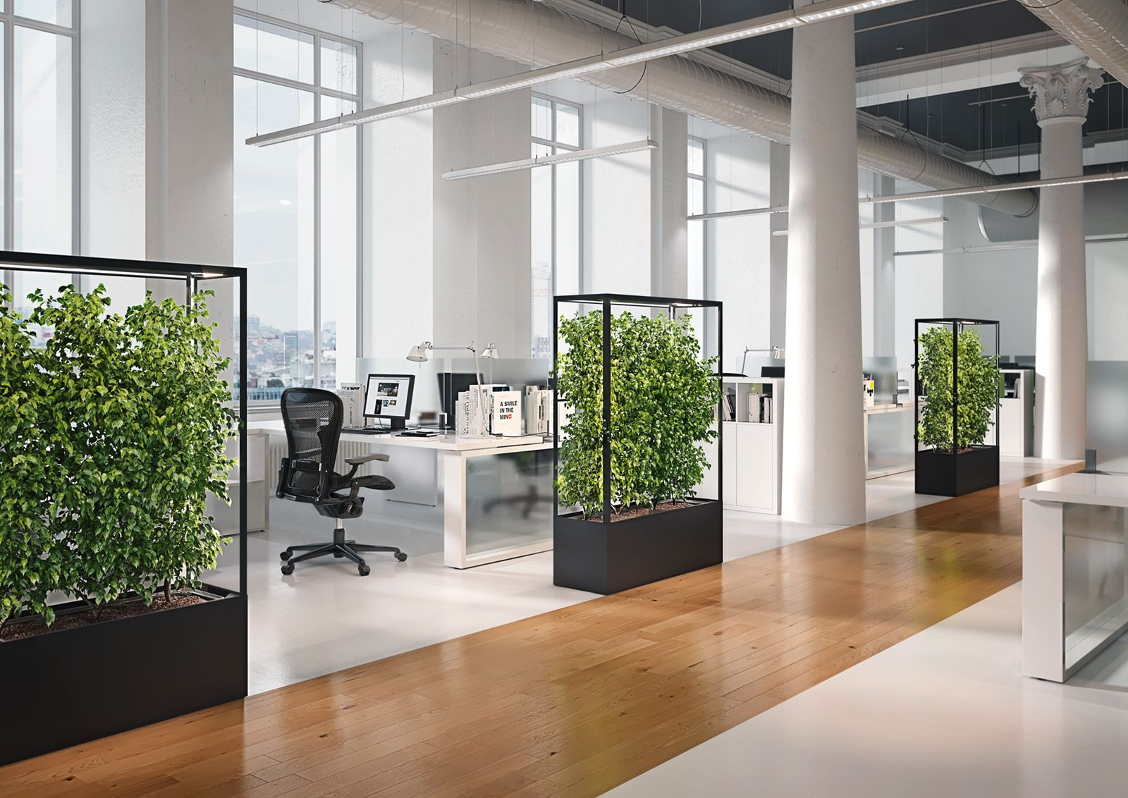 Cube planted mobil greenwall and room divider to create healthy