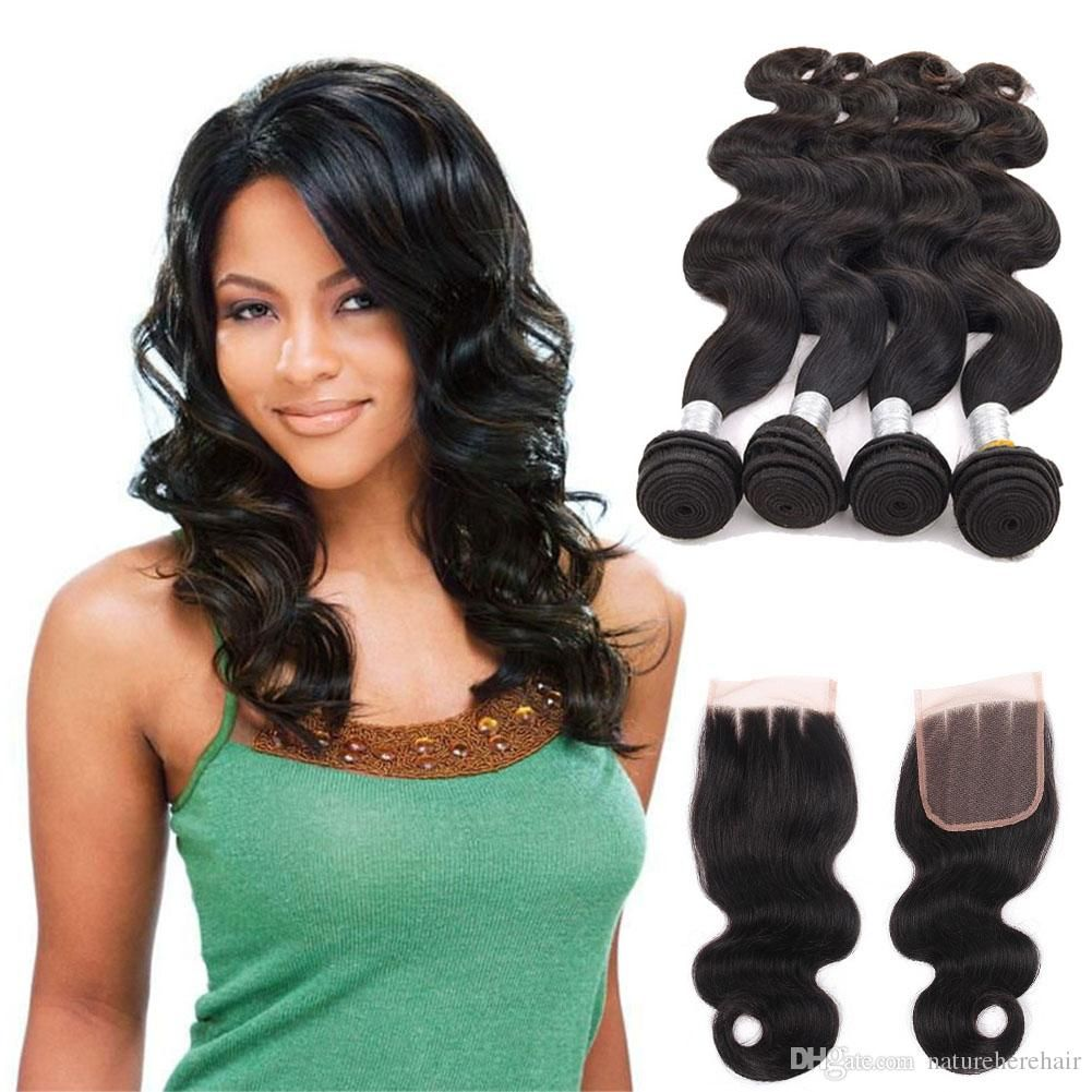 Brazilian Hair Bundles With Closure 8 28 Double Weft Human Hair