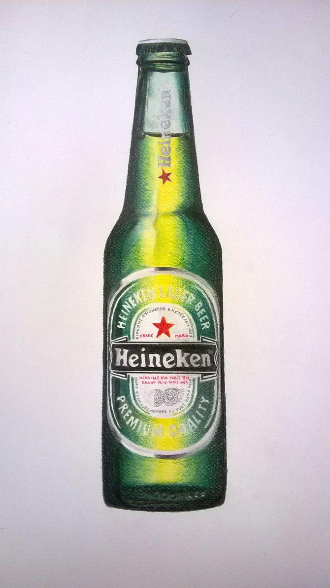 Realistic Beer bottle - Color pencils | Beer bottle ...