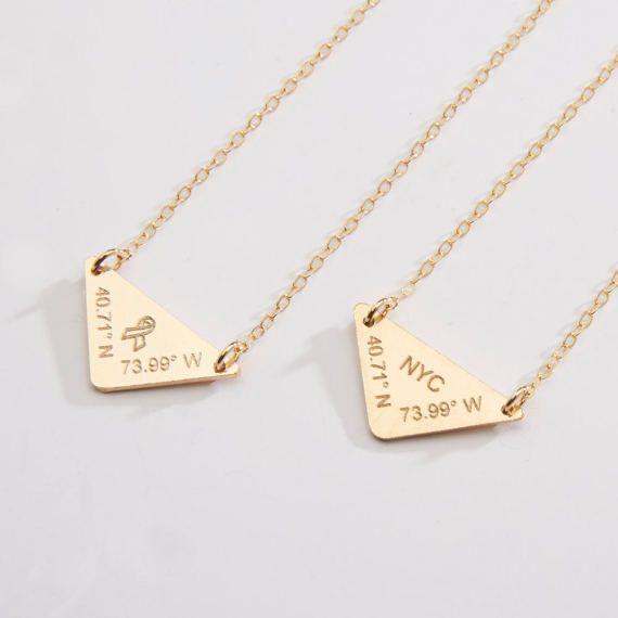 Custom Latitude Longitude-Triangle Engraved Necklace-Geometric