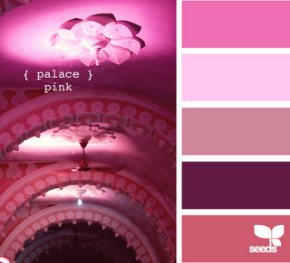Very cute girl nursery palette! Bright colors balanced with the dark...lovely.
