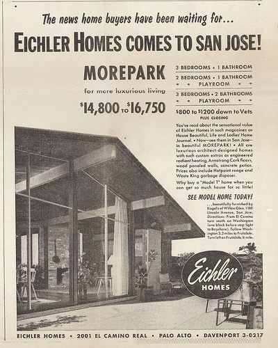 Eichler Homes Ad Morepark Neighborhood San Jose Eichler Homes Mid Century Modern House Plans Mid Century Modern House