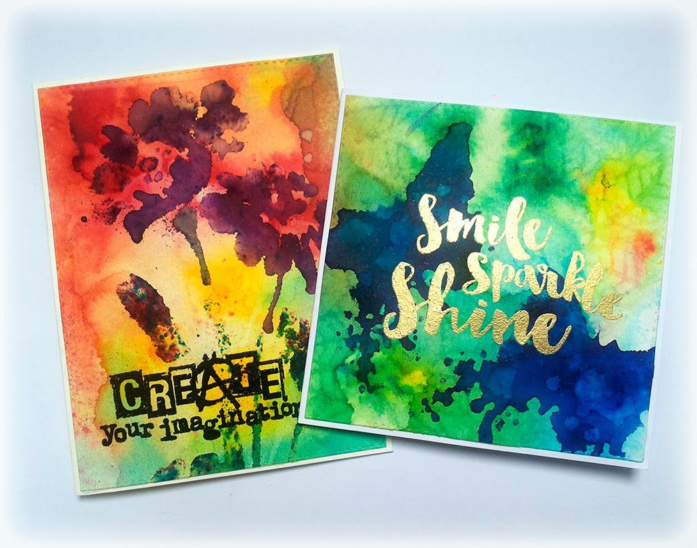Colorful Mixed Media Cards with Brushos and Visible Image Stamps - YouTube