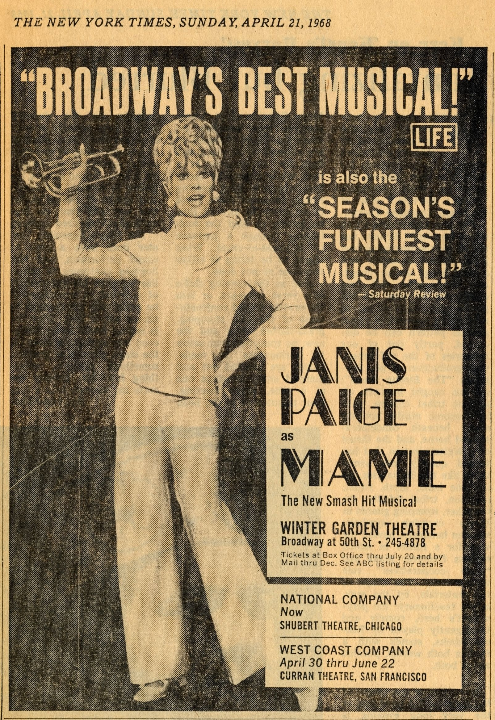 New York Times ad for Janis Paige as MAME, 1968 | Auntie Mame ...