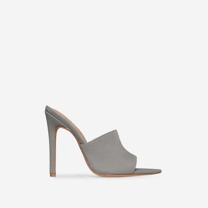 24bd857cec38 Briana Pointed Peep Toe Mule In Grey Lycra