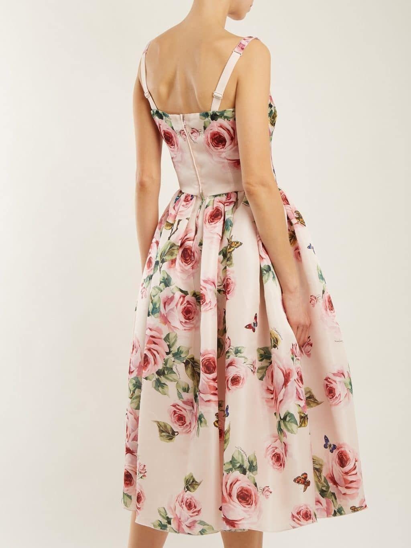 32005f118d17 DOLCE & GABBANA Rose Print Silk Organza Baby Pink Dress - We Select Dresses