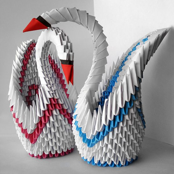 Swans in love | Paper crafts origami, Origami swan, Origami crafts
