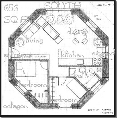 Octagon 656 Sq Ft Straw Bale House Hexagon House Round House Plans