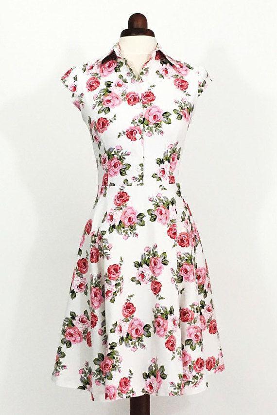 Floral dress for women, pink rose dress, summer dress, wedding guest ...