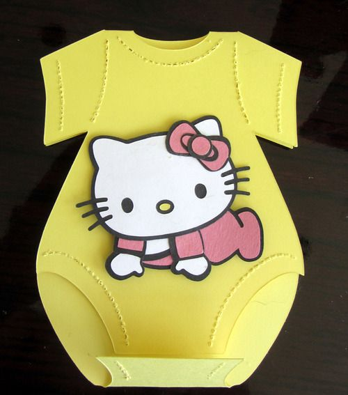 Hello Kitty Onesie Baby Shower Invitation   DIY 3D Paper Piecing Tutorial  Using Silhouette Cameo Cutter