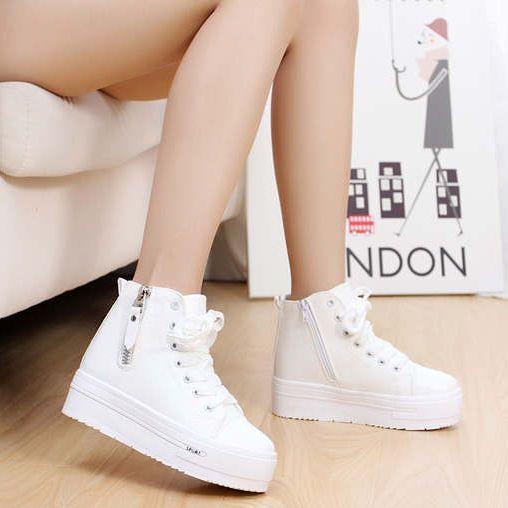 low priced 4ac7d 26bf0 Moda mujer de marca Lace Hollow plataforma corteza gruesa zapatos para mujer  alta top ocultos cuña dulce de la mujer entrenadores SDGV