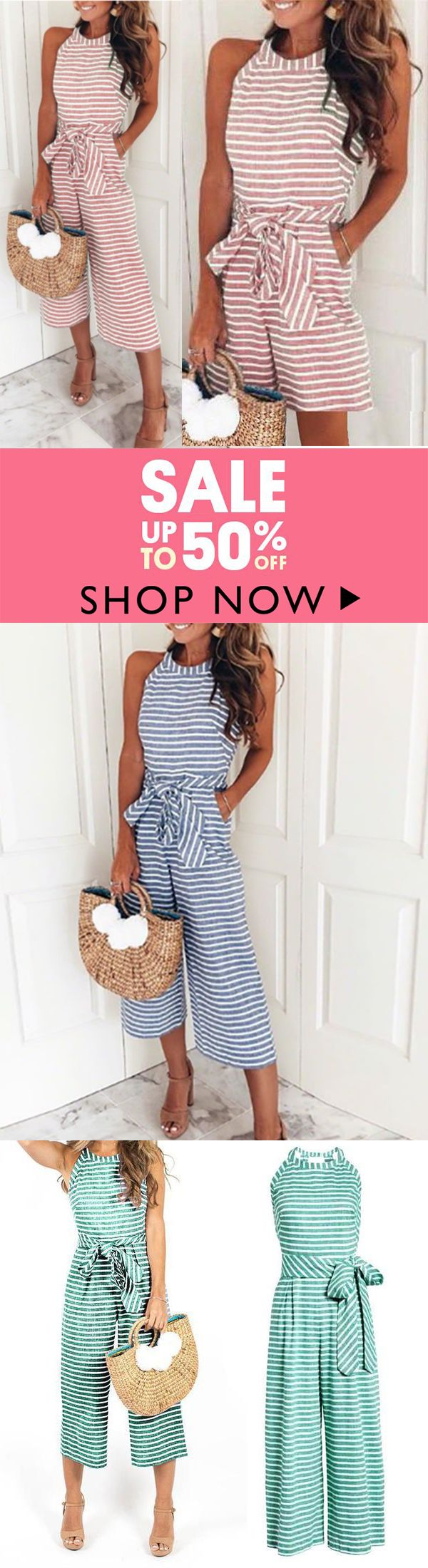 10000+bought & BIG SALE !!  Striped Vacation Casual Jumpsuit