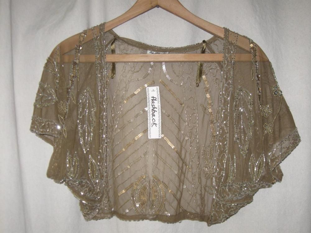 Gatsby Flapper Downton Gold Sheer Net Lace Beaded Sequin Evening
