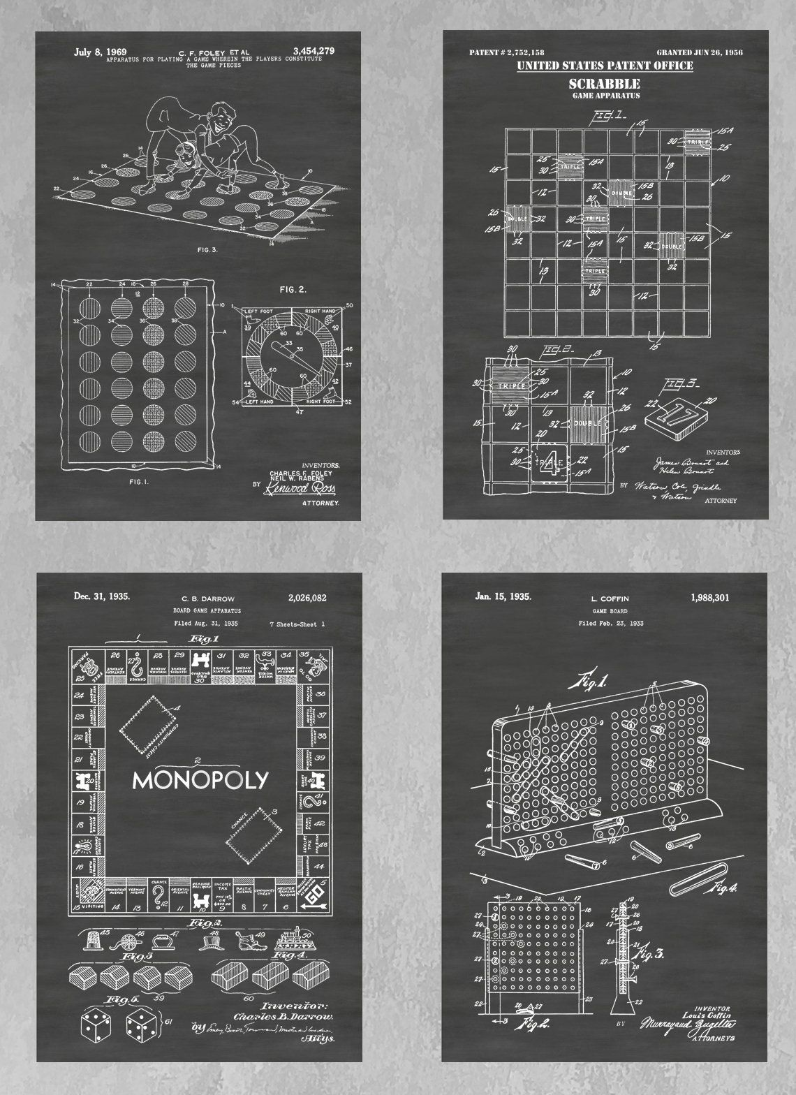 Board Games Patent Print Set Of 4 Gaming Poster Group Monopoly Twister Scrabble Battleship Family Games Gami With Images Decor Collection Gaming Decor Patent Prints