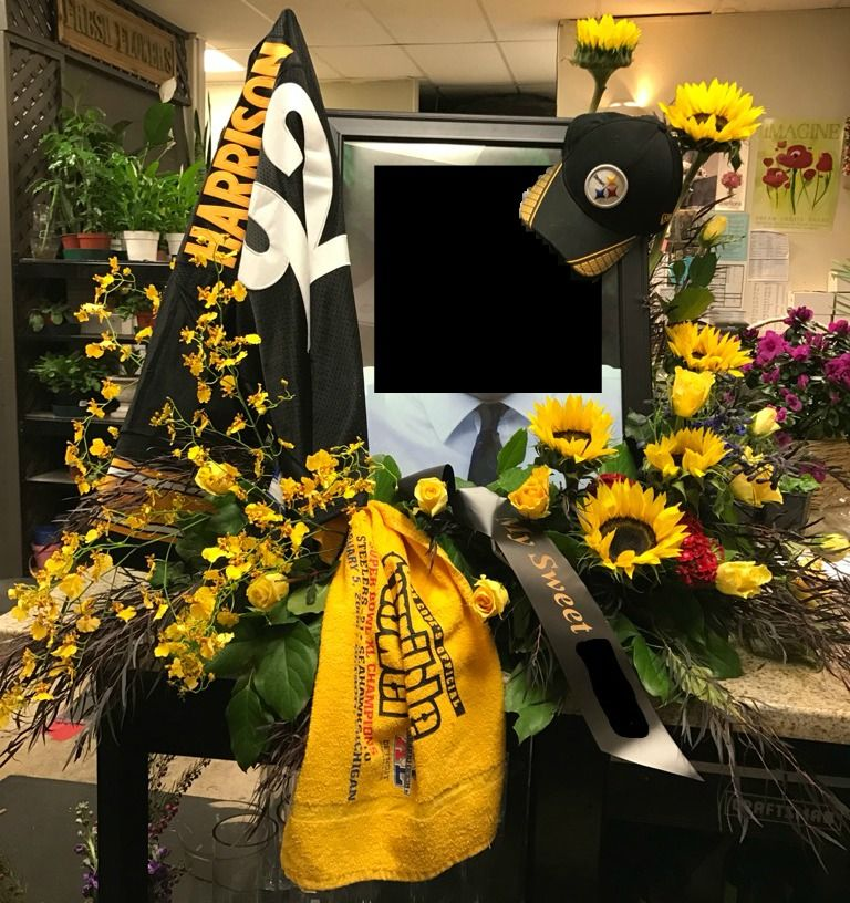 pretty nice 904c4 baf35 Sympathy arrangement for a Pittsburg Steelers fan. Made with ...