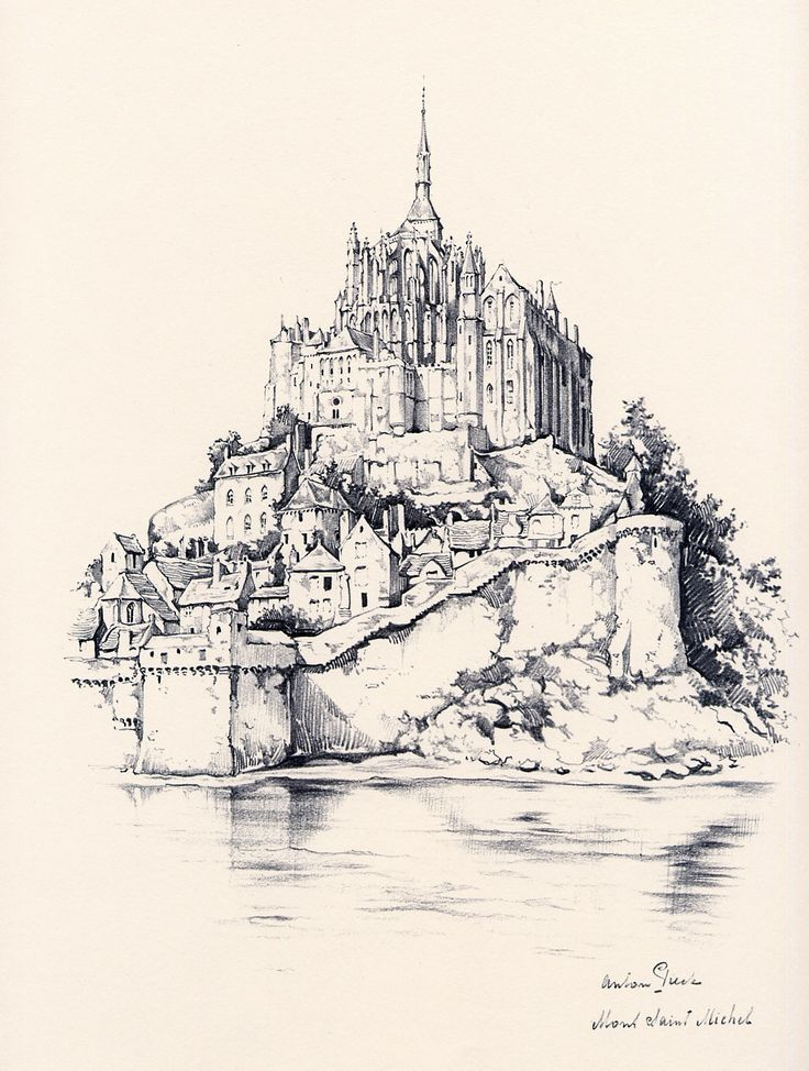 Mont Saint Michel France France Drawing Art Drawings