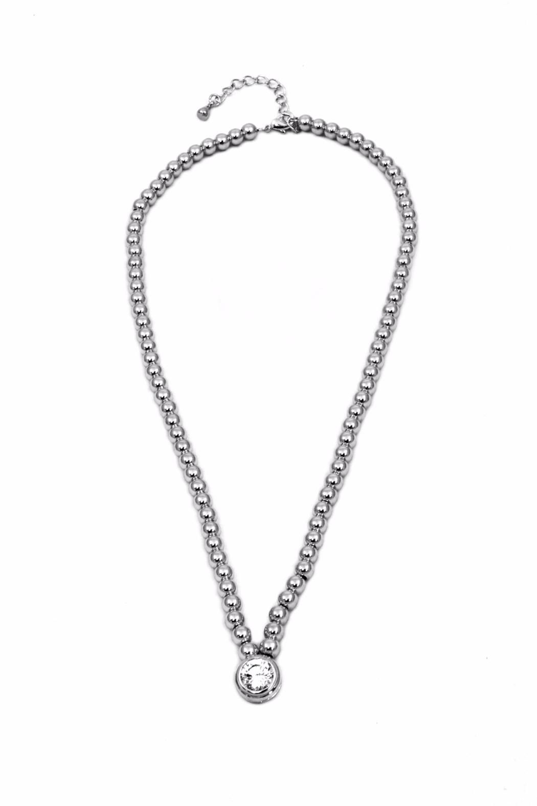 """Beaded chain with center bezel set cubic zirconia. Lead and nickel compliant.    Measures: 16"""" - 18"""" L   Beaded Necklace by INT. Accessories - Jewelry - Necklaces Florida"""