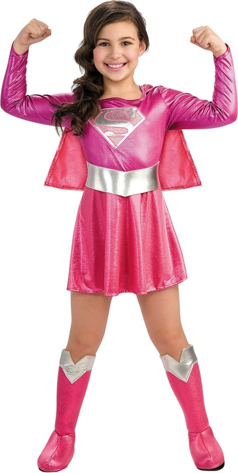 Girls Pink Supergirl Costume - Top Costumes - Girls Costumes ...