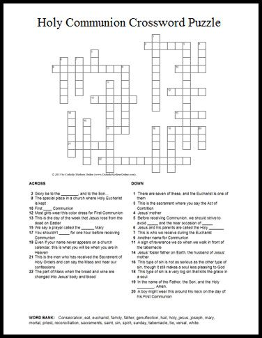 Holy Communion Themed Crossword Puzzle for Kids | Catholic Mothers ...
